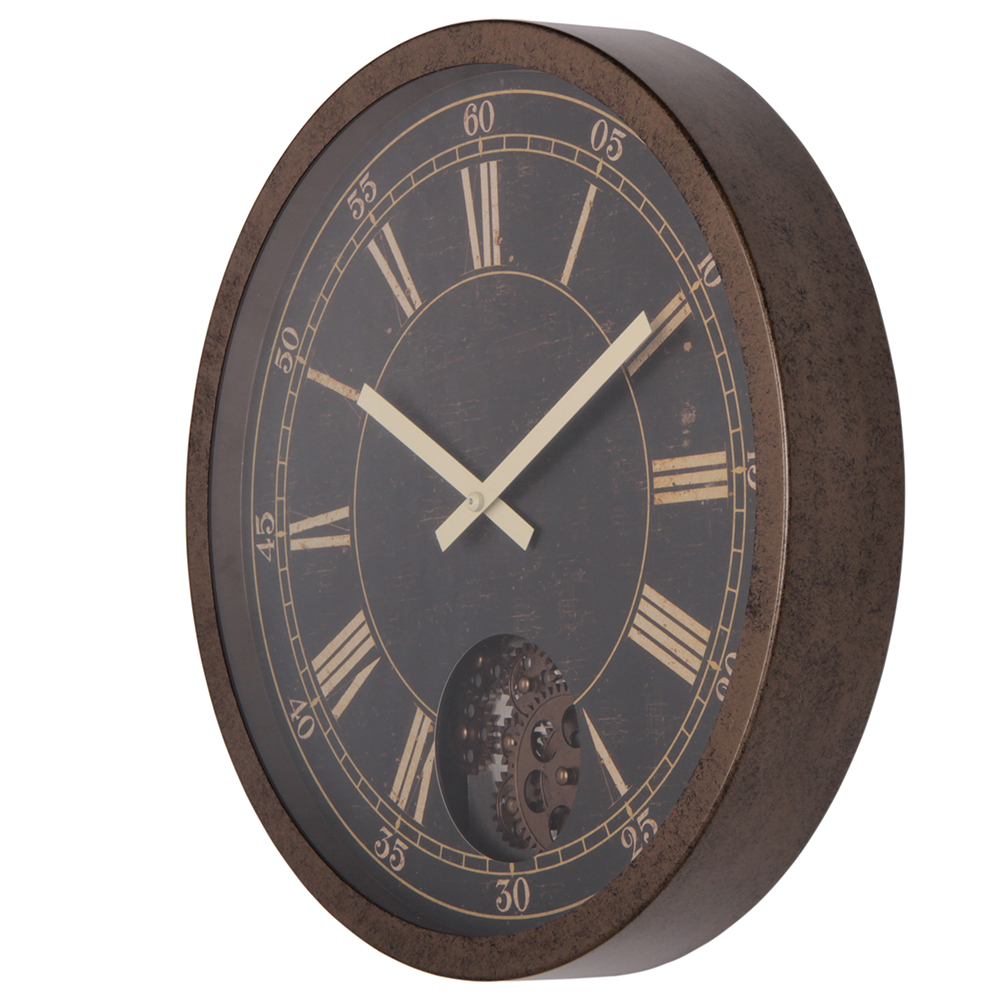 large wall clock brown
