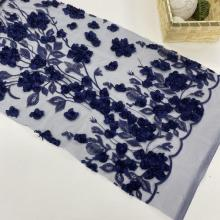 Navy 3D Chiffon Flowers Embroidery Fabric