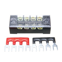 1pc 600V 15A 4P Power Distribution block Double Row Wire Barrier Terminal Block With 2 Connector Strips for Electronic Connector
