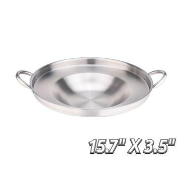 "15.7"" Heavy Duty Stainless Steel Concave Comal"