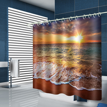 Sea Wave Waterproof Shower Curtain Beach Sunset Bathroom Decor Shower Curtain with Hooks