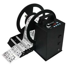 Automatic barcode printer label rewinder with counter