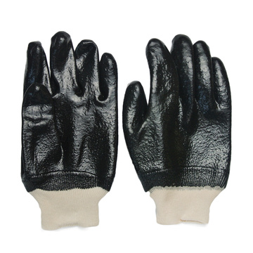 Black Single Dipped PVC Glove.Rough Finish.Knit Wrist