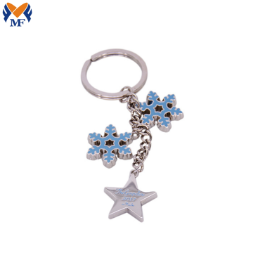 High End Metal Custom Christmas Snowflake Keychain