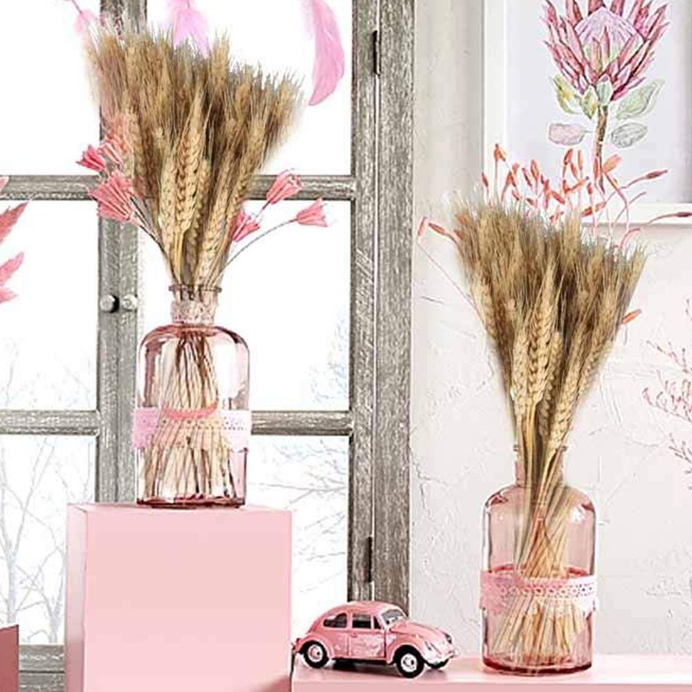 100Pcs Wheat Ear Flower Natural Dried Flowers for Wedding Party Decoration DIY Craft Scrapbook Home Decor Wheat Bouquet JP02