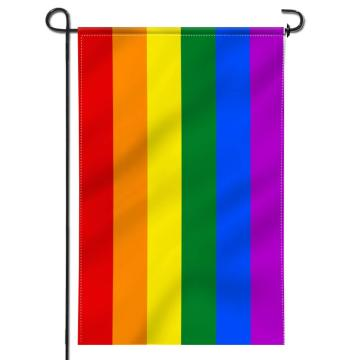 100% polyester custom digital printing rainbow garden flag