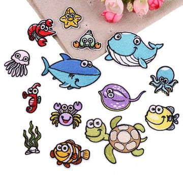 Fish turtle Cartoon sea Animals Embroidered Patches
