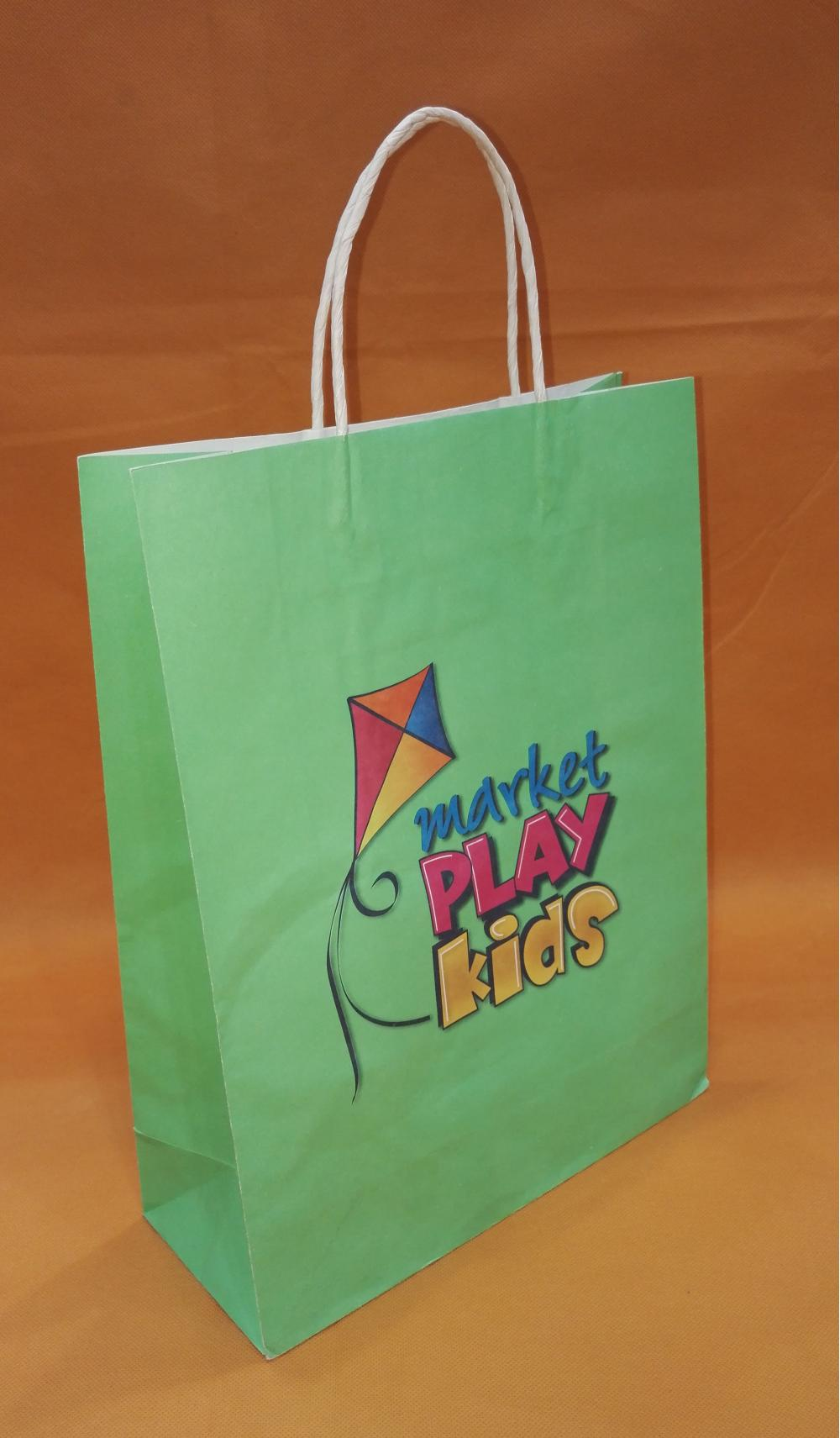 Green Paper Bags With Handle