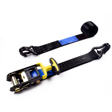 "2"" 5000kgs 50mm Custom Cheap T Rubber Handle Ratchet Belt Strap Black Webbing With 2 Inch Double J Hooks Safety Latch"