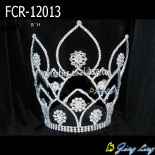 Large rhinestone round flower pageant crowns