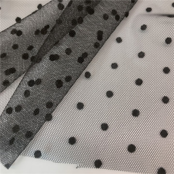 Flocked DOT Mesh Fabric for Dress and Decoration