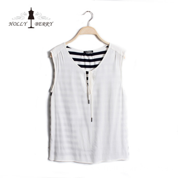 Professional White Sleeveless Crew Neck Women Vest