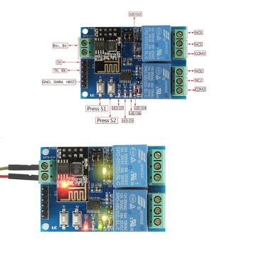 WIFI Relay Module ESP8266 IOT APP Controller 2-Channel For Smart Home 5V Dls HOmeful