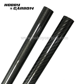 Glossy woven surface carbon fiber round tube