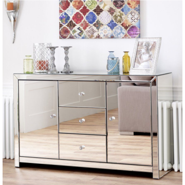 Mirror glass bedside table with door