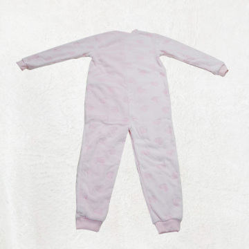 Pink children's all-in-one pajamas