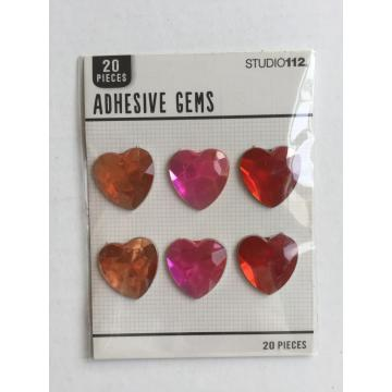 heart shape jumbo adhersive gemstone