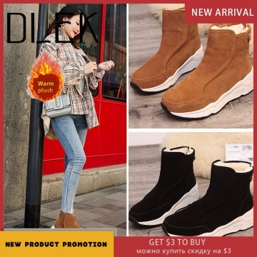 DLEK Ankle Snow Boots Women Solid Height Increasing Shoes Flock Khaki Black Metal Button Non-slip Wedges Female Boots
