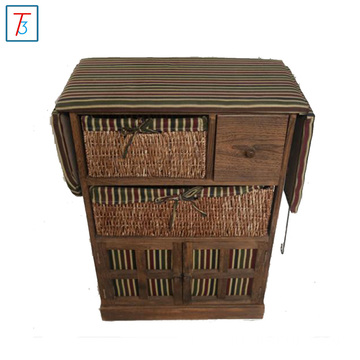 Wood Board Material ironing board table with wicker baskets