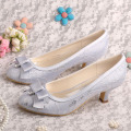 Low Heel Bridal Shoes Champagne Lace with Bowtie