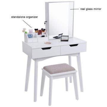 Modern Bedroom Wood Dressing Mirror Makeup Vanity Table  with Jewery organizer