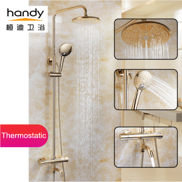 Luxury golden round thermostatic shower set