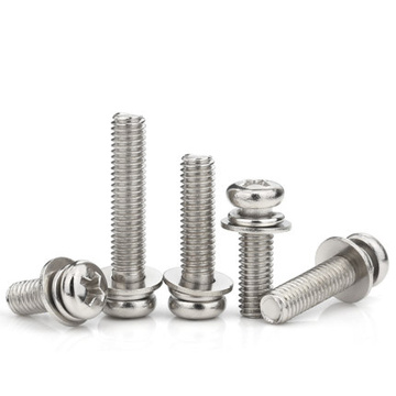 Nickel Plated Cross Round Head Three Combinations Screws