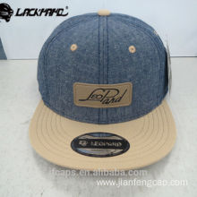 leather applique blue jeans snapback hiphop flat cap