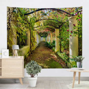 Green Corridor Tapestry Wall Hanging Flower Gallery Vine Nature Wall Tapestry for Livingroom Bedroom Dorm Home Decor