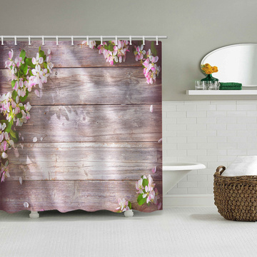 Retro Wood Plank Flower Waterproof Shower Curtain Pink Bathroom Decor