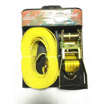 Packaged Ratchet Tie Down Yellow Lashing Belt with 4540KGS
