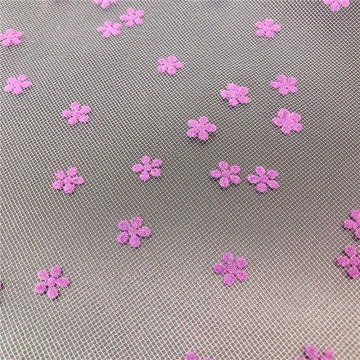 100% Polyester flower flocking printed tulle fabric