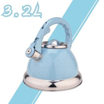 Sky Blue Mirror Whistling Stovetop Tea Kettle