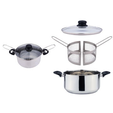 Stainless steel stove top fryer pot with baskets