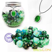 Bescon 35pcs Polyhedral RPG Dice Emeralds Set, DND Role Playing Game Dice Green Sets 5X7pcs