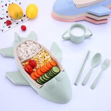 Ang Airplane Shape Wheat Straw Tableware Set