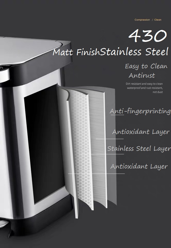 430 Stainless Steel Pedal Dustbin