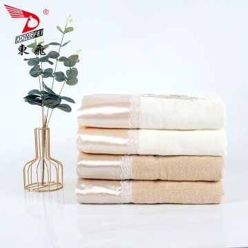 luxury gold satin silver applique plain velvet towel