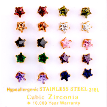 LUXUKISSKIDS 10Pairs/Pack Five-Stars Cubic Zirconia CZ Earring Mix Color Stud Earrings For Women Jewelry