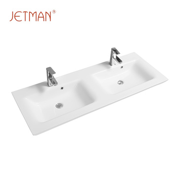 Square easy clean shape wash basins double sink bathroom