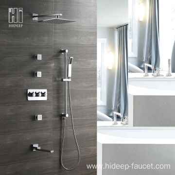 HIDEEP Brass Four Function Bathroom Shower Faucet