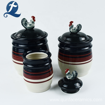 Kitchen container custom ceramic canister with rooster lid