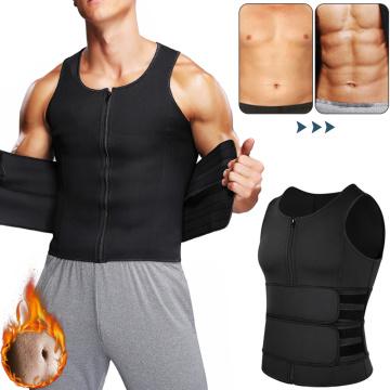 Men Body Shaper Sauna Suit Abdomen Slimming Shapewear Double Belt Waist Trainer Belly Reducing Shapers Sweat Vest Corset Top