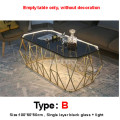 Nordic Rectangular Tea Table With LED Light Creative Single Layer Toughened Glass Desktop Iron Art Leg Modern Living Room Table