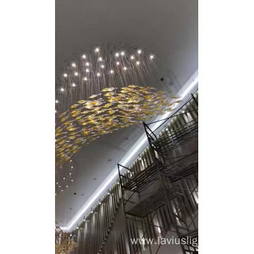 Large hotel banquet hall gold project led chandelier