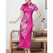 Hand Embroidery Phoenix  Peony Slim Women's Dress