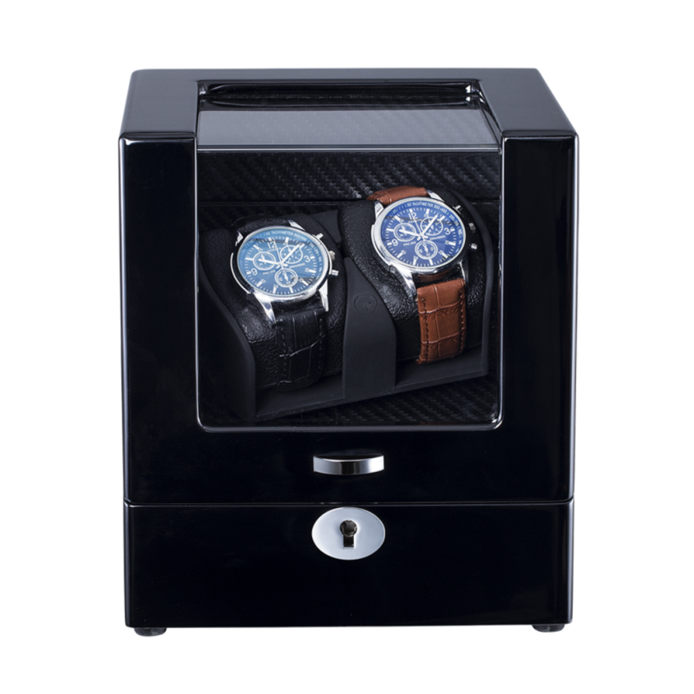 Ebony Watch Winder For Two Watches
