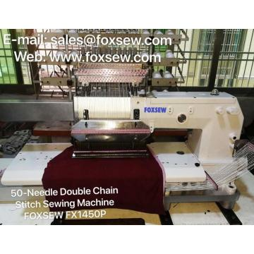 50-Needle Flat Bed Double Chain Stitch Sewing Machine