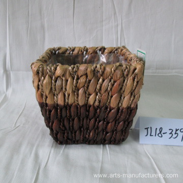 Hand Made Rectangular Water Hyacinth Flower Pot