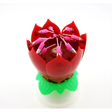 Happy birthday singing lotus flower shape candle